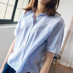 微米家 - 细条妏短袖衬衫