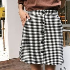 Tiny Times - Buttoned Gingham Skirt