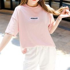 Seoul Fashion - 'PRIMARY' Applique Boxy T-Shirt