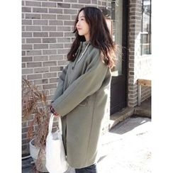 maybe-baby - Hooded Wool Blend Coat