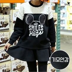 PINKSISLY - Set: Mickey Mouse Print Pullover + Inset Skirt Leggings