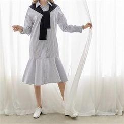 PEPER - Ruffle-Hem Striped Dress