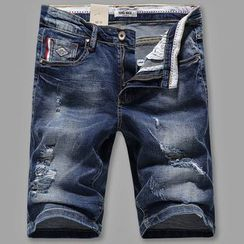 Croni - Distressed Washed Denim Shorts