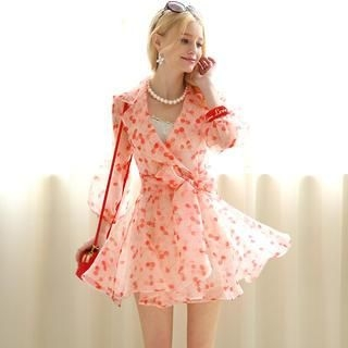 Dabuwawa - Tie-Waist Cherry-Print Chiffon Dress
