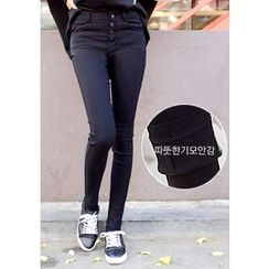 DEEPNY - High-Waist Brushed-Fleece Lined Skinny Pants