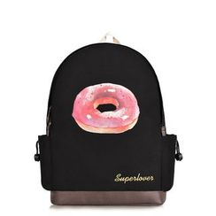 SUPER LOVER - Canvas Donut Printed PU Panel Backpack