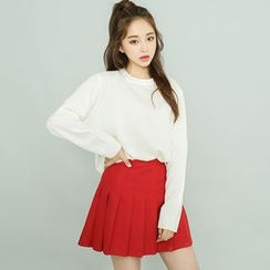 BONGJA SHOP - Colored Round-Neck Knit Top