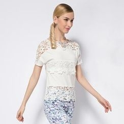 O.SA - Lace-Panel Short-Sleeve Top