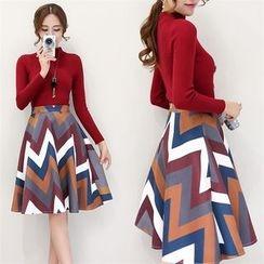 Donnae - Set: Mock Neck Long-Sleeve Knit Top + Chevron A-Line Skirt