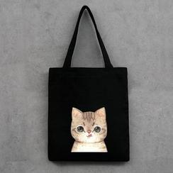 DUYU - 小貓印花帆布購物袋