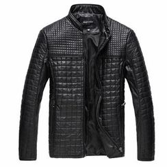 AMH - Mandarin-Collar Check Faux-Leather Jacket