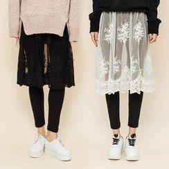 Heynew - Inset Tulle Skirt Leggings