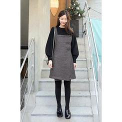 CHERRYKOKO - Buttoned Wrap-Front Wool Blend Jumper Dress