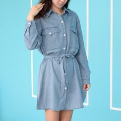 Quintess - Tie-Waist Denim Shirtdress