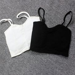Jade Rabbit - Open Back Cropped Plain Camisole Top