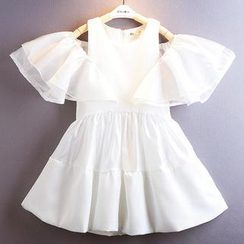 Kidora - Kids Cutout Shoulder Ruffle Dress