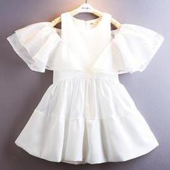 Kidora - 小童镂空肩荷叶连衣裙