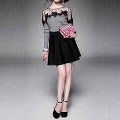 Alaroo - 網紗拼接長袖針織上衣