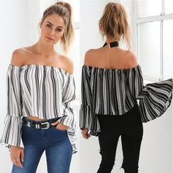 HOTCAKE - Striped Off-Shoulder Bell-Sleeve Top