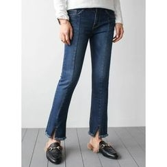 STYLEBYYAM - Fringed-Hem Seam-Front Jeans