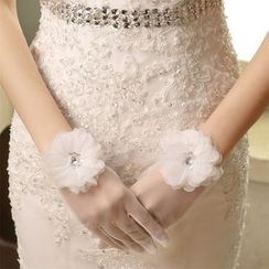 Merone - Flower Rhinestone Wedding Gloves