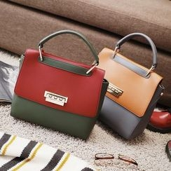 Nautilus Bags - Color Block Handbag with Shoulder Strap