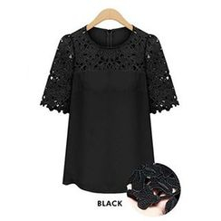 Persephone - Short-Sleeve Lace Panel Chiffon Top
