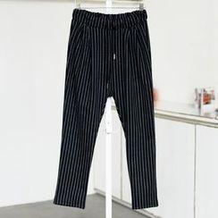 59 Seconds - Drawstring Striped Harem Pants