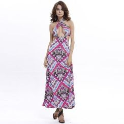 Hotprint - Print Halted Open Back Maxi Dress