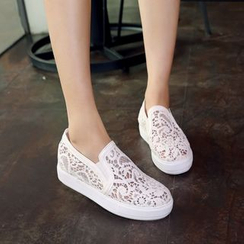 Pretty in Boots - Perforated Hidden Wedge Slip Ons