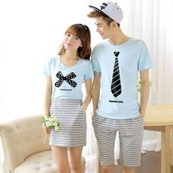 Love Affairs - Couple Set: Printed T-Shirt + Shorts / Pencil Skirt