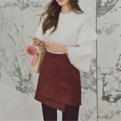 TOM & RABBIT - Wrap-Front Wool Blend Mini Skirt