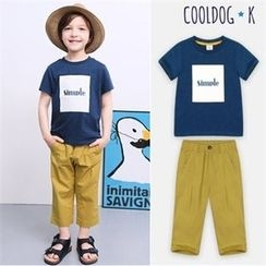WALTON kids - Boys Set: Lettering T-Shirt + band-Waist Pants
