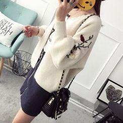 Qimi - 花形刺绣罗纹开衫