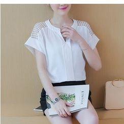 Eighoo - Lace Panel Short-Sleeve Chiffon Blouse