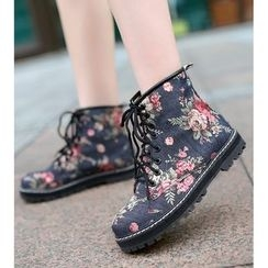 Freesia - Floral Print Short Boots