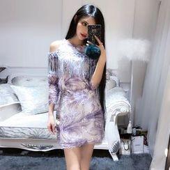 Trinie - Cold Shoulder Sequined Shift Dress