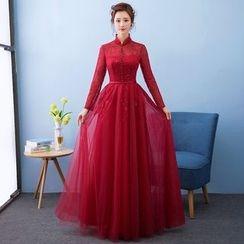 Loree - Stand-collar Long-Sleeve Evening Dress