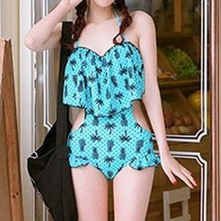 Zeta Swimwear - Pineapple Palm Tree Print Cutout Swimsuit