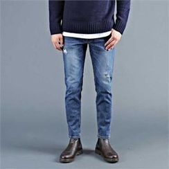 THE COVER - Distressed Washed Tapered Jeans