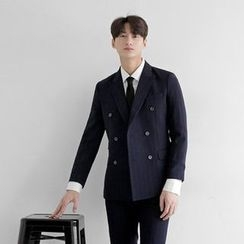 Seoul Homme - Double-Breasted Pinstriped Blazer