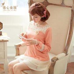 Kaven Dream - Set: Rose-Accent Knit Top + Layered-Hem Skirt
