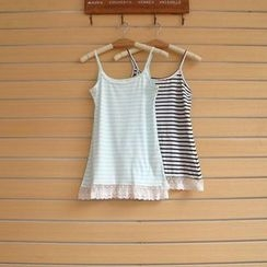 TWILOS - Lace Hem Striped Camisole Top