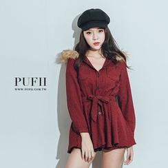 PUFII - 千鳥紋綁腰連帽毛領連身裙