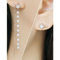 soo n soo - Rhinestone Faux-Pearl Asymmetric Earrings