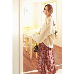 Momnuri - Maternity Band-Waist Floral Long Skirt