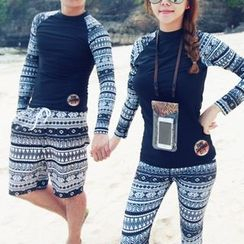 DJ Design - Couple Matching Set: Patterned Rashguard + Swim Shorts/ Swim Pants