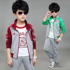 Pegasus - Kids Set : Panel Jacket + Printed Top + Sweatpants
