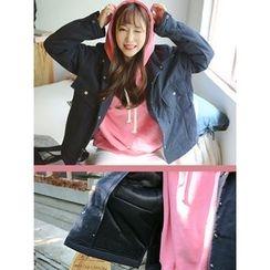 LOLOten - Flap-Pocket Snap-Button Padded Jacket