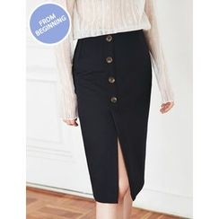 FROMBEGINNING - Button-Front Midi Pencil Skirt